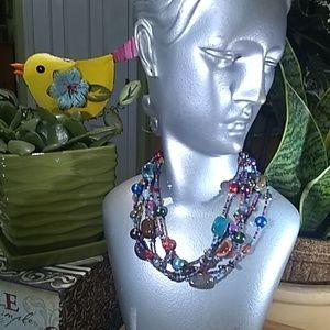 5 strand multi colored beaded necklace #U009A